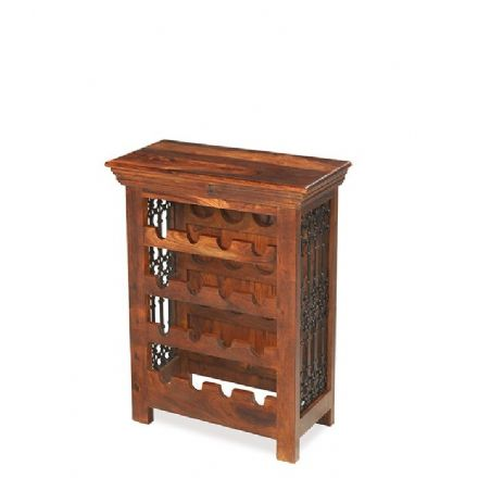 Jali Sheesham Wood Wine Rack